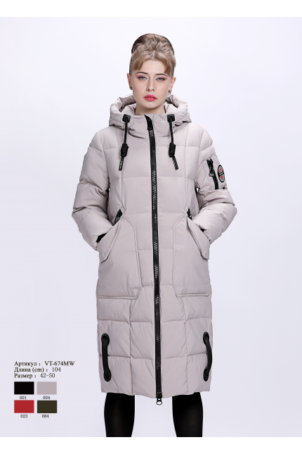 Женское пальто с капюшоном VT 674 MW