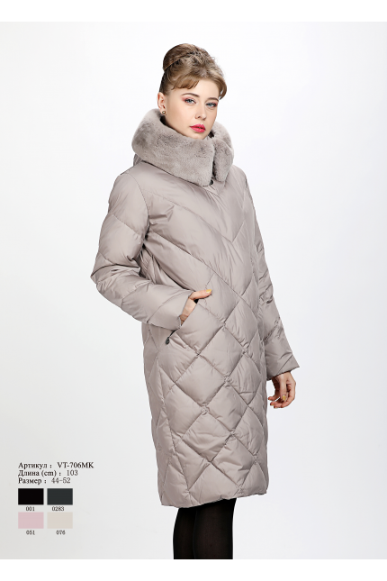 Женское пальто с капюшоном VT 706 MK